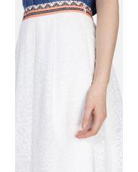 Karen Millen White Floral Devore Full Skirt
