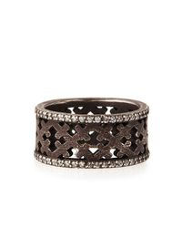 Katie Design Jewelry - Gray Ebonized Silver Crosses Band Ring With Diamonds - Lyst