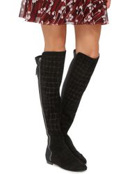 Giuseppe Zanotti Black Calf Leather Croc Embossed Knee High Boots