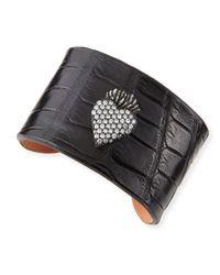 Katie Design Jewelry | Black Burning Heart Alligator Cuff With Diamonds | Lyst