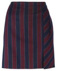 Carven - Blue Striped Mini Skirt - Lyst