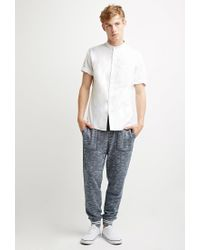 Forever 21 | Blue Marled Varsity-stripe Sweatpants for Men | Lyst