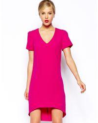 Oasis - Pink V Neck Crepe Dip Back Dress - Lyst