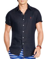 Polo Ralph Lauren | Blue Short-sleeved Linen Shirt for Men | Lyst