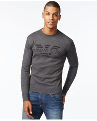 Armani Jeans | Black Men's Logo Graphic Long-sleeve Sweater for Men | Lyst