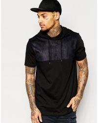 ASOS - Longline T-shirt With Faux Suede Yoke And Hood In Black for Men - Lyst