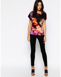 Ted Baker Purple Cynaria Printed Scallop Edge Camisole