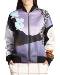 3.1 Phillip Lim - Purple Soleil Print Satin Bomber Jacket - Lyst