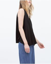 Zara | Black T-shirt With Edging Detail | Lyst