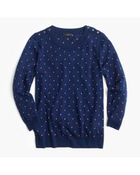 J.Crew | Blue Polka-dot Tippi Sweater With Shoulder Buttons | Lyst