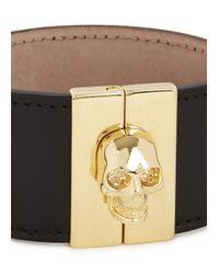Alexander McQueen - Metallic Black Leather Skull Cuff - Lyst