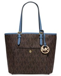 Michael Kors | Brown Michael Jet Set Medium Snap Pocket Tote | Lyst