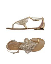 Lola Cruz - Metallic Thong Sandal - Lyst