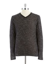Vince Camuto | Black Marled Long Sleeved T Shirt for Men | Lyst