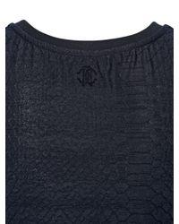 Roberto Cavalli Black Stretch Cotton Blend Jacquard Tank Top
