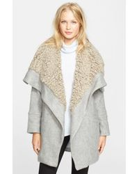 Free People | Gray Faux Shearling Wrap Coat | Lyst