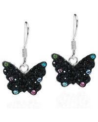 Aeravida - Cute Black Butterfly Cz Flutter .925 Silver Dangle Earrings - Lyst