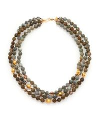 Chan Luu | Metallic Labradorite & Crystal Triple-strand Necklace | Lyst