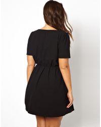 AX Paris - Black Curve Skater Dress with Lace Detail - Lyst