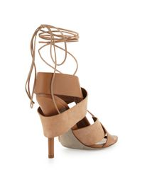 Alexander Wang | Brown Malgosia Leather Suede Sandal Truffle | Lyst