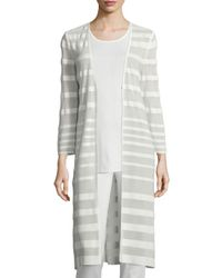 Misook - Gray Long-sleeve Sheer-striped Long Duster Coat - Lyst