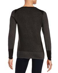 Ivanka Trump - Gray Textured Zip-shoulder Pullover - Lyst