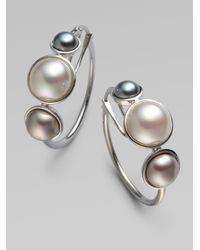Majorica Metallic 6mm, 8mm & 10mm Mabe Sterling Silver Pearl Hoop Earrings/1