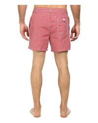 "Lacoste | Red Taffeta Gingham Swim Short 5"" for Men 