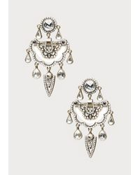 Bebe - White Crystal Drop Earrings - Lyst