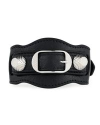 Balenciaga - Black Giant 12 Leather Buckle Bracelet - Lyst