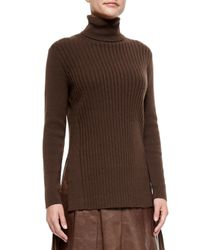 Lafayette 148 New York - Brown Cashmere Long-sleeve Turtleneck W/ Side Slits - Lyst