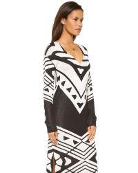Free People Patterned Bauhaus Knit Dress - Black/cream Combo