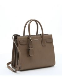 Saint Laurent - Brown Taupe Leather 'baby Sac De Jour' Convertible Tote - Lyst