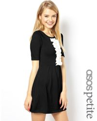 ASOS | Black Exclusive Knitted Skater Dress With Ruffle Front | Lyst