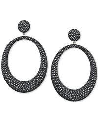 Swarovski   Black Hematite-tone Crystal Large Hoop Drop Earring   Lyst