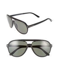 6694fb116 Lyst - Tom Ford 'sergio' 60mm Polarized Aviator Sunglasses in Black
