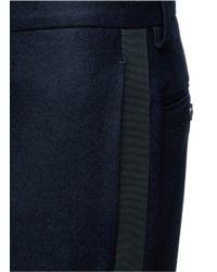 Wooster + Lardini Blue Grosgrain Side Stripe Cropped Tuxedo Pants for men
