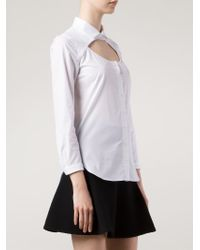 Carven White Cut Out Shirt