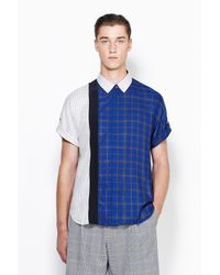 3.1 Phillip Lim - Multicolor Short Sleeve Button Up With Framed Seams for Men - Lyst