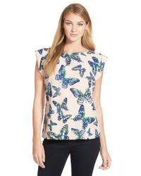 Cece by Cynthia Steffe Blue 'floating Butterflies' Print Blouse