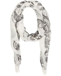 Alexander McQueen - White Ivory And Black Paisley Skull Scarf - Lyst