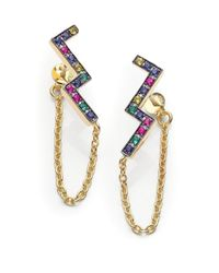 Elizabeth and James | Metallic Edo Carlu Multicolor Sapphire Zigzag Chain Earrings | Lyst