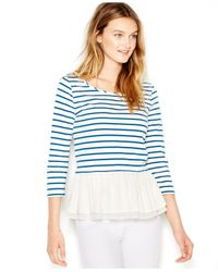 Maison Jules | White Three-quarter-sleeve Striped Ruffled Top | Lyst