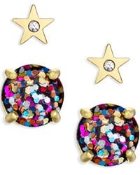 kate spade new york | Multicolor Gold-tone Crystal Star And Glitter Stud Earring Set | Lyst