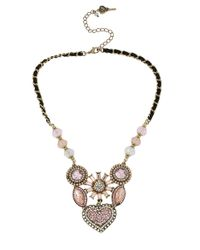 Betsey Johnson Metallic Crystallized Vintage Heart Six-piece Necklace