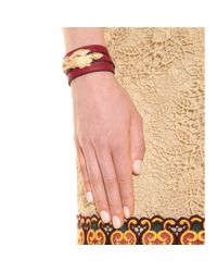 Valentino - Red Gryphon Leather Wrap Bracelet - Lyst