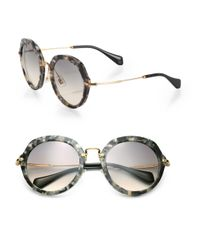 Miu Miu | Metallic 54mm Round Sunglasses | Lyst