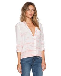 Equipment Pink Reese Linear Tie Dye Blouse
