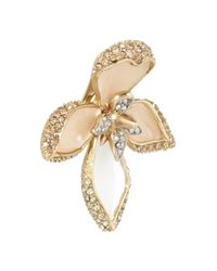 Roberto Cavalli White Lotus Flower Gold-tone Swarovski Crystal Earrings