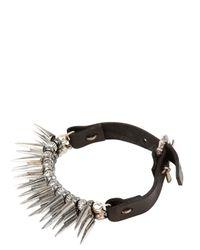Emanuele Bicocchi Metallic Large Spike Silver & Leather Bracelet for men